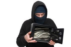 Masked theft with cashbox Royalty Free Stock Photo