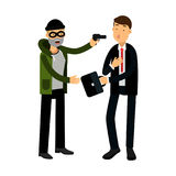 Masked thief character stealing briefcase from businessman  Illustration Royalty Free Stock Photo