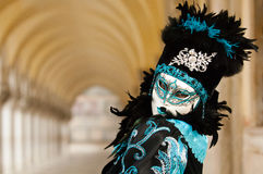Masked woman in black & Blue costume Stock Photos