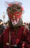 Masked woman in costume on San Marco Square, Carnival in Venice, Royalty Free Stock Photos