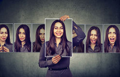 Masked woman expressing different emotions Royalty Free Stock Images