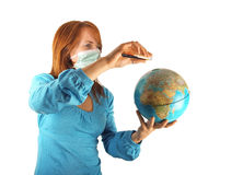 Masked woman with globe Royalty Free Stock Image
