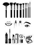 Maskenbildner Brushs und Werkzeuge Lippen, Nägel und Auge Vektorillustrations-Elementsatz auf Weiß Lizenzfreies Stockfoto