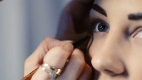 Maskenbildner macht Modellaugenmake-up stock video