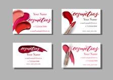 Maskenbildnervisitenkarte Vector Schablone mit Make-upeinzelteilmuster - Lippenstift Schablonen-Vektor Lizenzfreies Stockfoto