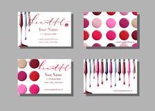 Maskenbildnervisitenkarte Vector Schablone mit Make-upeinzelteilmuster-Nagellack Schablonen-Vektor Lizenzfreie Stockfotos