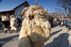Masker de carnaval en fourrure chez le 'Busojaras', le carnaval de l'enterrement de l'hiver Photographie stock libre de droits