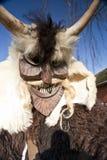 Masker de carnaval en fourrure chez le 'Busojaras', le carnaval de l'enterrement de l'hiver Photographie stock