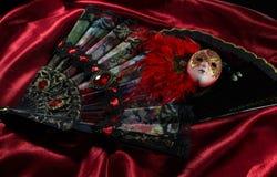 Masker met het vouwen van ventilators Royalty-vrije Stock Afbeeldingen