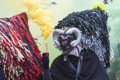 Masker met hoorn en hoed bij Aliano-provincie van Matera Royalty-vrije Stock Foto's