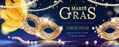 Masker met veer voor de banner van Carnaval van mardigras royalty-vrije illustratie