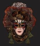 Masker op een donkere bruine achtergrond Stock Fotografie