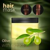 Masker voor haar met een uittreksel van olijf royalty-vrije illustratie