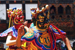 maskerad bhutan festival Royaltyfri Bild