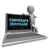 Maskerad Cyber för företags spionage som hackar tolkningen 3d stock illustrationer