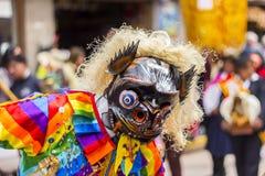 Maskerad dansareVirgen del Carmen Pisac Cuzco Peru Arkivfoto