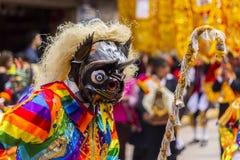 Maskerad dansareVirgen del Carmen Pisac Cuzco Peru Royaltyfri Foto