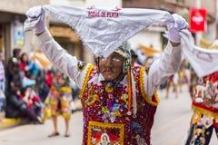 Maskerad dansareVirgen del Carmen Pisac Cuzco Peru Arkivbild