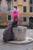 Maskerad kvinna i den rosa och svarta handen - gjord dräkt med fanen och utsmyckad målad befjädrad maskering på den Venedig karne arkivfoton