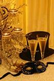 Maskerade, champers & opera Stock Foto