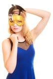 maskerade Mooi meisje in Carnaval masker royalty-vrije stock afbeelding