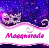 maskeradeaffiche met Carnaval-masker met rhin stock illustratie