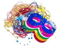 Maskeradtillbehör för Mardi Gras partier royaltyfri fotografi