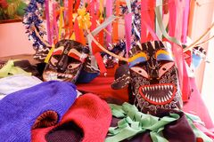Maskering för festivalen Pee Kon Num på loeien Thailand Royaltyfri Bild