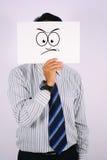 Maskering för framsida för affärsmanWearing vrede Royaltyfria Foton