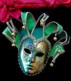 maskering för gyckelmakare för klockakarnevalgreen Royaltyfri Foto