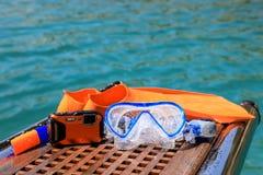 Maskering fena, undervattens- kamera på havsbakgrunden Fotografering för Bildbyråer