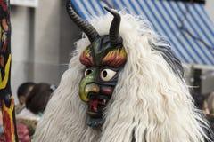 Maskering med horn och huggtand på karnevalet Arkivfoton
