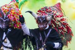 Maskering med hornet och hatten på det Aliano landskapet av Matera Royaltyfria Bilder