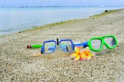 Maskering och snorklar på tropisk ösemester Royaltyfri Foto