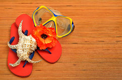 Maskering, snäckskal, blomma och sandaler för flipmisslyckande på trät Royaltyfri Bild