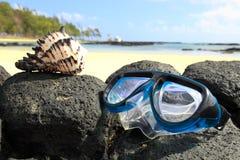 maskering som snorkeling Arkivfoto