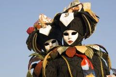 Maskeringar på den Venedig karnevalet Arkivbilder