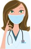maskeringsläkarundersökningkvinna Arkivfoto