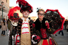 Maskers op Venetiaans Carnaval, Venetië, Italië Stock Foto