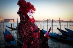 Maskers op Venetiaans Carnaval, Venetië, Italië Royalty-vrije Stock Afbeelding