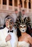 Maskers op Venetiaans Carnaval, Venetië, Italië Royalty-vrije Stock Fotografie