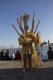 Maskers in Venetië tijdens Mardi Gras Stock Foto's