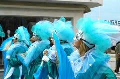 Maskers in Viareggio Carnaval Stock Afbeelding