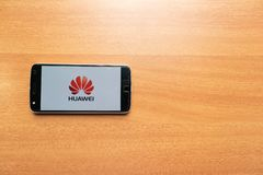Maski, India - June 21, 2019: Huawei logo on screen of Mobile. Huawei Technologies Co., Ltd. is a Chinese multinational networking. And telecommunications stock photography