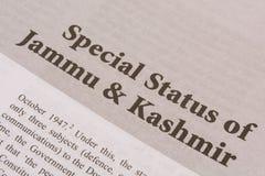 Maski, Karnataka, Индия - 09,2019 -го ЯНВАРЬ: Особый статус для печати Джамму и Кашмир на бумаге стоковое фото rf
