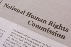 Maski,Karnataka,India - JANUARY,09,2019 : National Human Rights Commission printed on paper. royalty free stock photo