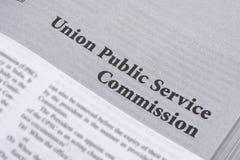 Maski,Karnataka,India - January 4,2019 : Union Public Service Commission printed in book with large letters.  stock photography