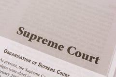 Maski, Karnataka, la India - ENERO, 09,2019: Tribunal Supremo impreso en el papel imágenes de archivo libres de regalías