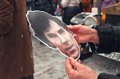 Maskieren Sie Schauspieler Cumberbatch-Geburtstag von Sherlock Holmes January 4, 20 Stockbild