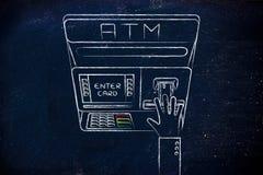 Maskin för automatisk kassör med handen som sätter in kreditkorten Arkivfoton